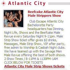 Bachelorette Parties in Atlantic City at Male Strip Clubs.