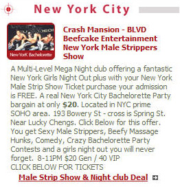 New York City Bachelorette party ideas with Beefcake male striptease shows.